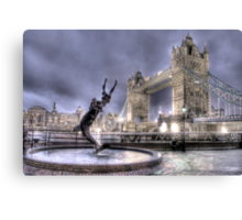 Tower Bridge and Fountain in London at Night Canvas Print