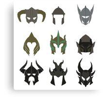 skyrim: minimalist helmets Canvas Print