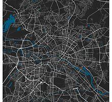 Berlin city map black colour by mmapprints