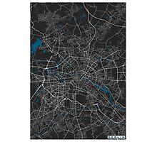 Berlin city map black colour Photographic Print