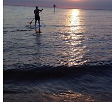 Sunset Paddleboarder  by madisoncenter