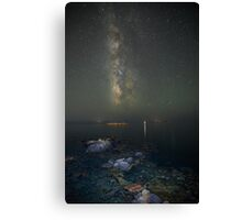 Milky way at a rocky sea coast in Syros island, Greece Canvas Print