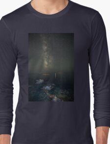 Milky way at a rocky sea coast in Syros island, Greece Long Sleeve T-Shirt