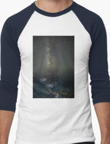 Milky way at a rocky sea coast in Syros island, Greece Men's Baseball ¾ T-Shirt