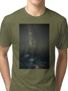 Milky way at a rocky sea coast in Syros island, Greece Tri-blend T-Shirt