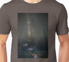 Milky way at a rocky sea coast in Syros island, Greece Unisex T-Shirt