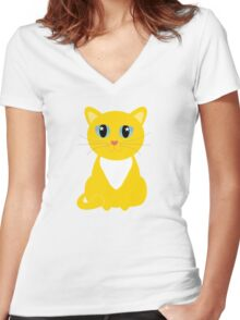 Only One Yellow Kitty Women's Fitted V-Neck T-Shirt