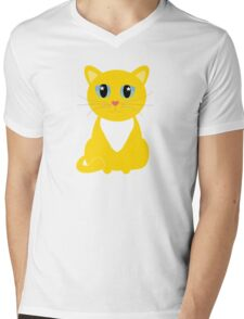 Only One Yellow Kitty Mens V-Neck T-Shirt