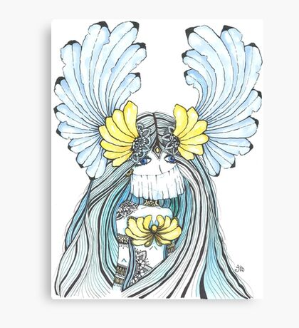 Watercolor and ink Greek Goddess Canvas Print