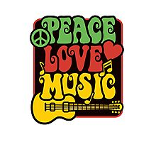 Peace, Love, Music in Rasta Colors Photographic Print
