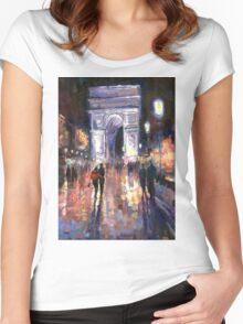 Paris Miting Point Arc de Triomphie Women's Fitted Scoop T-Shirt