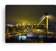 seaport with cranes at night Canvas Print
