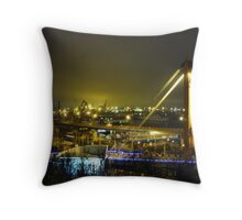 seaport with cranes at night Throw Pillow