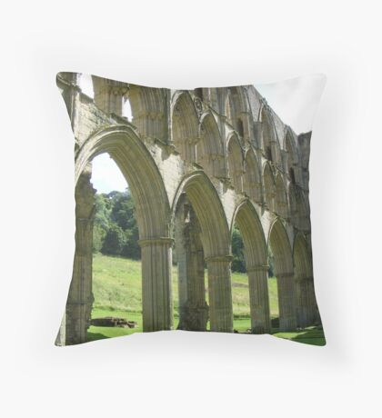 Rievaulx Abbey columns and arches - North Yorkshire Throw Pillow