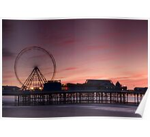 Blackpool Central Pier in the Pink Poster