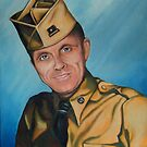 Painting of Private Larry, US Soldier, circa 1955 by Pam Humbargar