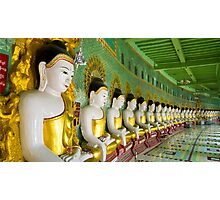 Buddhas and wall in temple Photographic Print