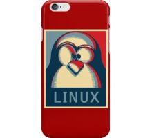Linux tux penguin obama poster logo iPhone Case/Skin