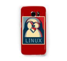 Linux tux penguin obama poster logo Samsung Galaxy Case/Skin