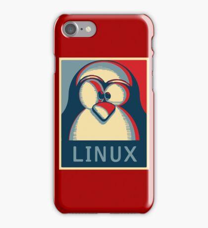 Linux tux penguin obama poster logo iPhone Case/Skin