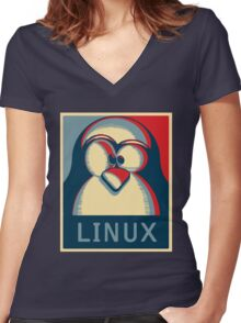 Linux tux penguin obama poster logo Women's Fitted V-Neck T-Shirt