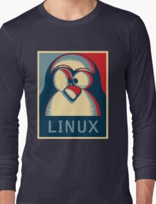 Linux tux penguin obama poster logo Long Sleeve T-Shirt