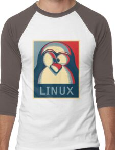 Linux tux penguin obama poster logo Men's Baseball ¾ T-Shirt