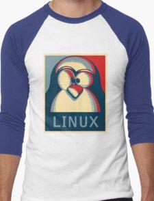 Linux tux penguin obama poster logo Men's Baseball ¾ T-Shirt