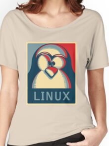 Linux tux penguin obama poster logo Women's Relaxed Fit T-Shirt