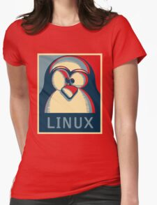 Linux tux penguin obama poster logo Womens Fitted T-Shirt