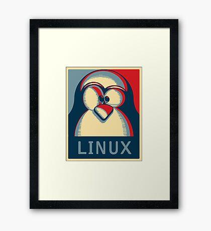 Linux tux penguin obama poster logo Framed Print