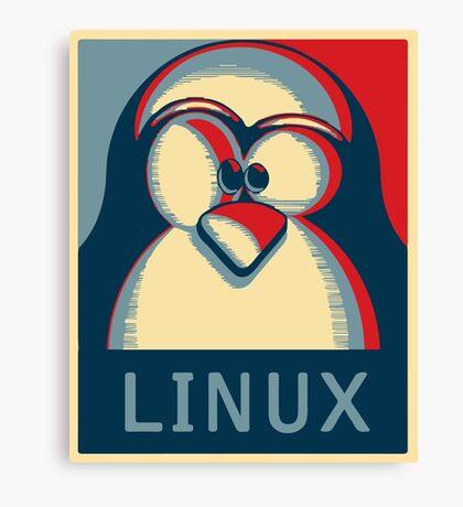 Linux tux penguin obama poster logo Canvas Print