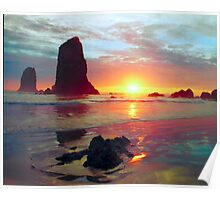 Sunset, Cannon Beach Oregon 1, USA Poster