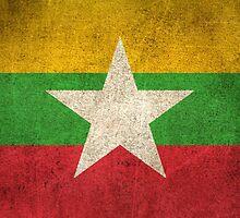 Old and Worn Distressed Vintage Flag of Myanmar by Jeff Bartels