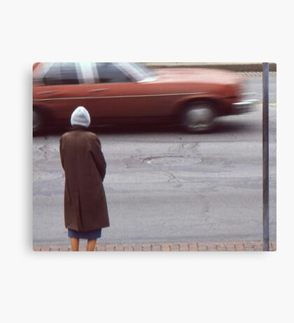 Waiting for a chance to cross. Canvas Print