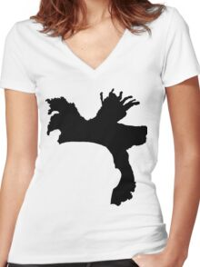 The Weeknd Hair - FRONT Women's Fitted V-Neck T-Shirt
