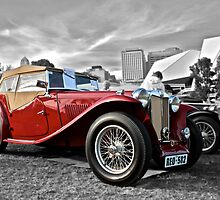 Red MG TC at Elder Park by Ferenghi