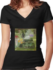 Hall's Pond Sanctuary Garden Women's Fitted V-Neck T-Shirt