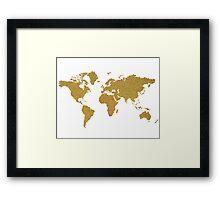 Gold glitter world map Framed Print