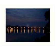 Lights Over the Delaware  river Art Print