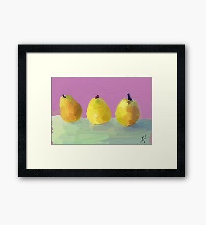 Painted  Pears Framed Print