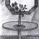 BROKEN VASE ON GLASS TABLE by NEIL STUART COFFEY