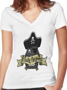 Pirate penguin Women's Fitted V-Neck T-Shirt