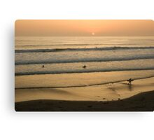 Crowded Californian Surfing Sunset - Pacific Beach, San Diego Canvas Print