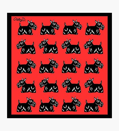 Scottie Dogs Black and Red Pattern Photographic Print