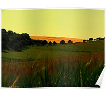 Rodmell Fields at Dawn Sunrise Poster