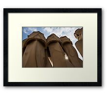 Whimsical Chimneys - Antoni Gaudi, La Pedrera, Barcelona, Spain Framed Print