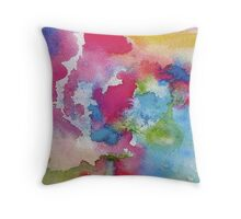 Rainbow Watercolor Paint Bleeds Throw Pillow