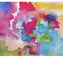 Rainbow Watercolor Paint Bleeds Photographic Print