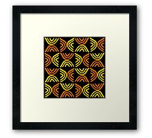 Mud Cloth Style 080215 - Amber and Orange with Black Framed Print